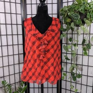 New York & Company Red/ Black Ruffled Top
